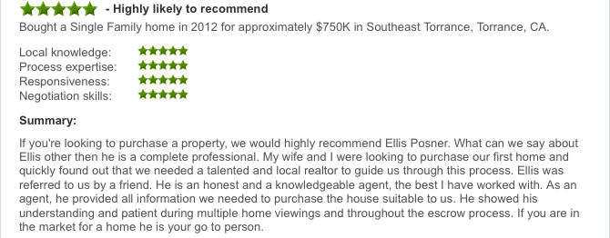 Zillow Torrance Real Estate Agent Review