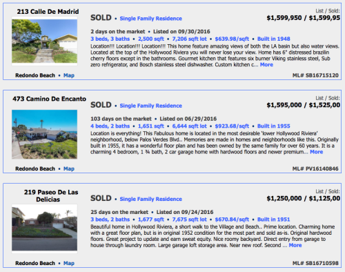 Hollywood Riviera SFRs sold 11:2016